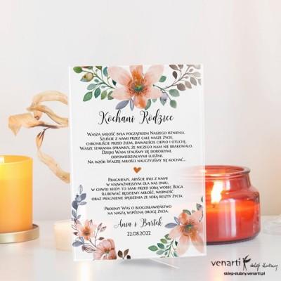 Pomarańczowy kwiat wzór 1 Szklane zaproszenia dla Rodziców