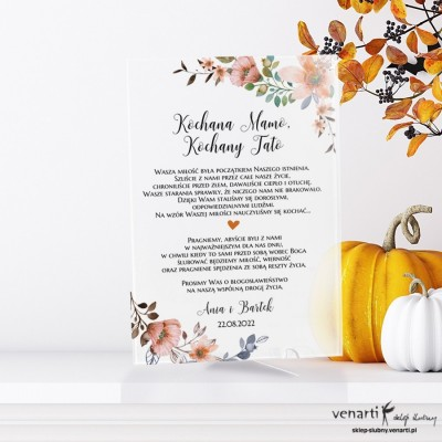 Pomarańczowe kwiaty wzór 2 Szklane zaproszenia dla Rodziców