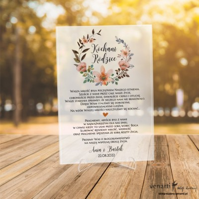 Pomarańczowe kwiaty wzór 3 Szklane zaproszenia dla Rodziców