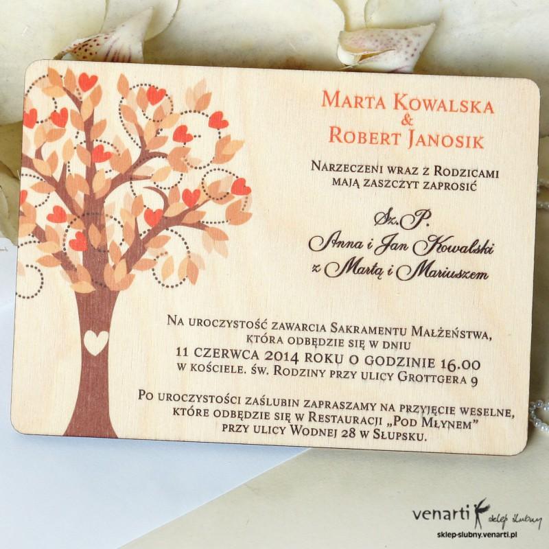 Drewniane zaproszenie Drzewo z sercem