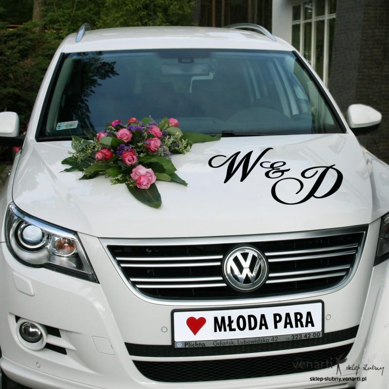 Bardzo dobry Dekoracje ślubnego samochodu ZF22