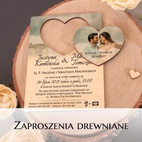 Zaproszenia ślubne - drewniane