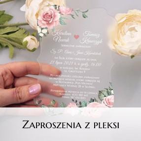 Zaproszenia ślubne z pleksi